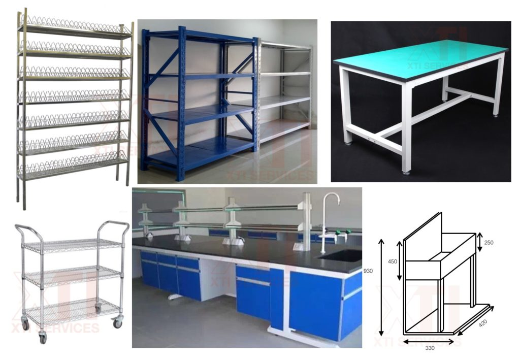 Bolt-free shelving systems, light duty, medium duty, heavy duty,  work bench, customized fabrication, stainless steel fabrication, no minimum unit,  no drawing  required